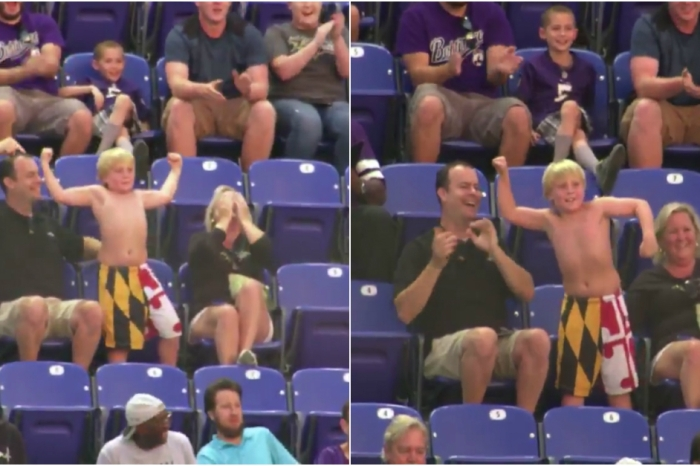 We're losing it over this little dude who took his shirt off at a Ravens game