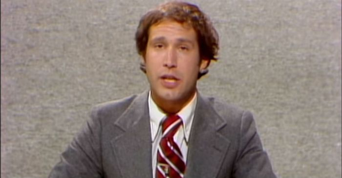 "Long before Michael Che, Chevy Chase ruled the ""Weekend Update"" desk on Saturday Night Live"