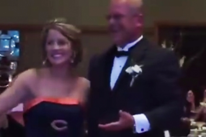 The story behind one bride's Bears-themed wedding gown to surprise her father