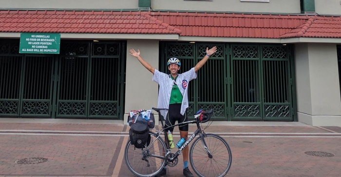 A Chicago Cubs fan rode his bike to Wrigley Field – all the way from Texas