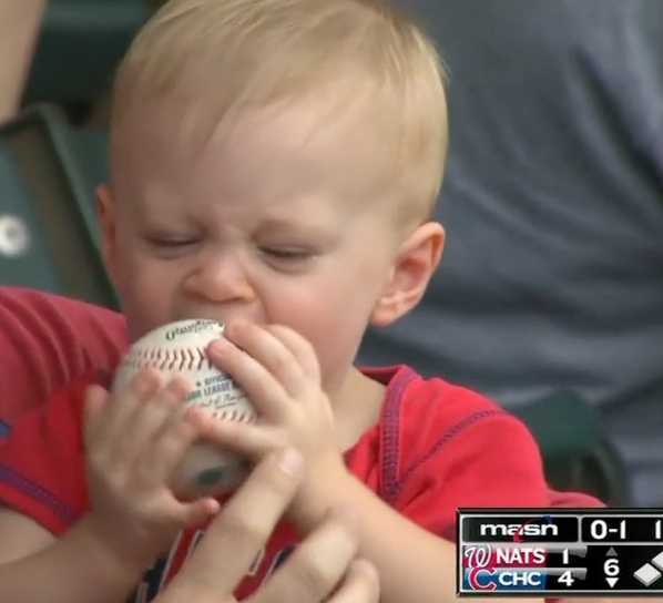 This little boy had the best treat at Wrigley Field this weekend