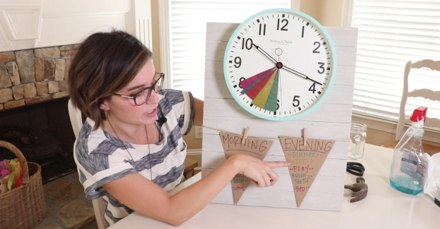 Her DIY time management clock keeps her family on track all year long