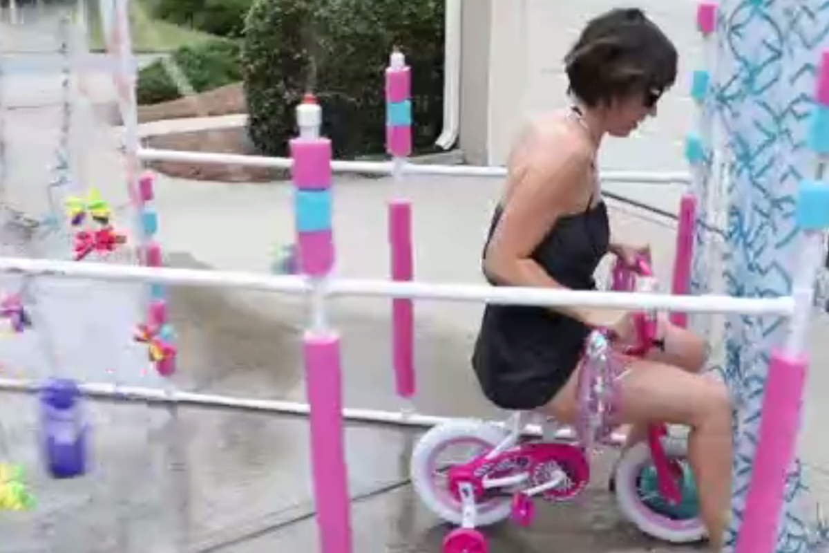 She found this DIY tricycle car wash while browsing Pinterest and knew she had to make it