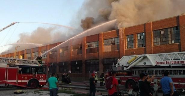 Chicago Fire Dept. battle huge fire in abandoned Zenith factory