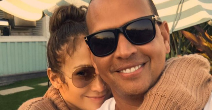 "Jennifer Lopez cuddles up to Alex Rodriguez before returning to the ""Shades of Blue"" set"