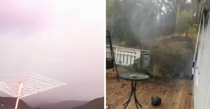 Enormous bolt of lightning narrowly misses a man as it smolders everything in its path