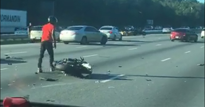 A group of reckless motorcyclists tried doing tricks on the highway, but things took a nasty turn