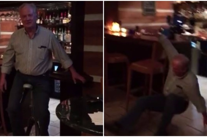 This man tried to ride a unicycle in a bar, and it went exactly how you think it would