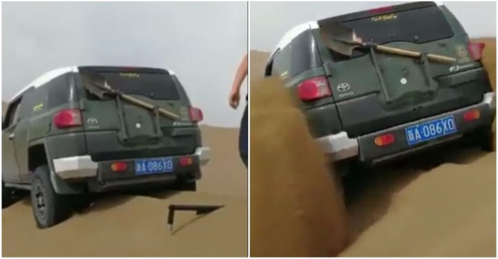 Their 4×4 was stuck in the sand until these guys pulled out a real-life cheat code