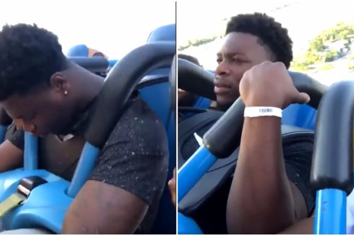 The roller coaster was too much for this guy, who promptly screamed and passed out