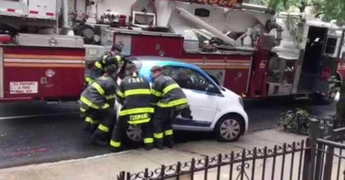 If you need something heavy lifted, just ask these Brooklyn firefighters who lifted a wrongly-parked car
