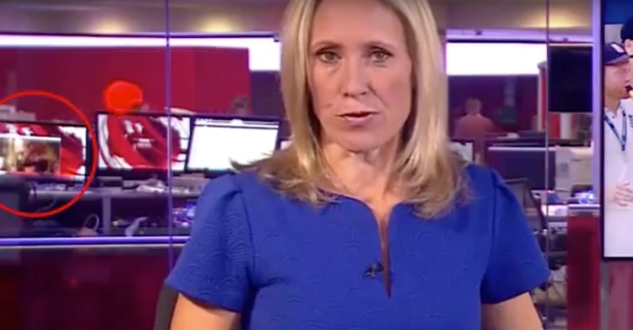 A British News Anchor Had No Idea an Adult Film was Playing in the Background as She Gave a Report