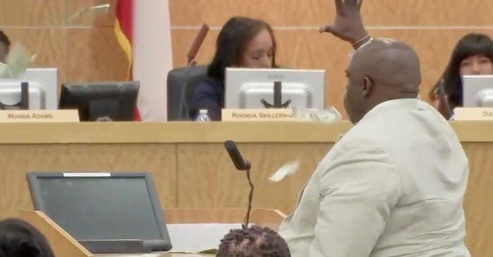 Irritated with HISD leadership, one activist brought the thunder and made it rain at a recent school board meeting