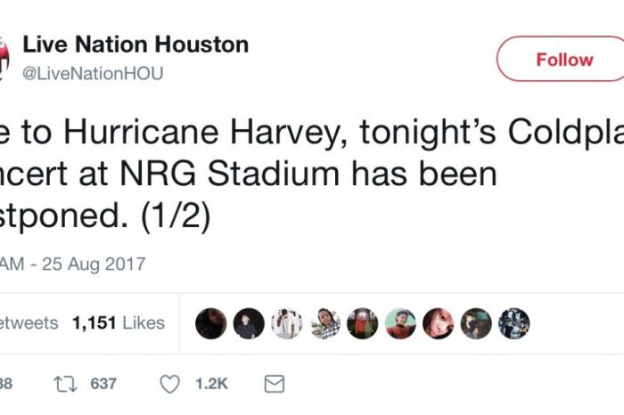 Harvey is raining on some parades already this weekend, including Coldplay's tonight at NRG