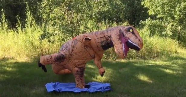Not everyone is cut out for yoga, but that won't stop this T.rex from trying to live his most zen life