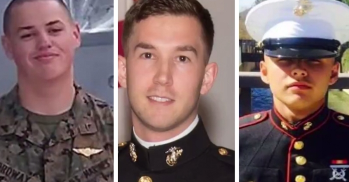 The U.S. Marine Corps identified the three men who were killed off the coast of Australia