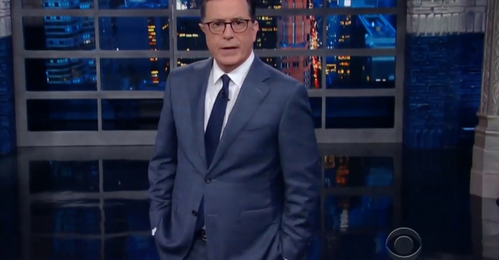 "Stephen Colbert gets serious in Trump-fueled edition of ""The Late Show"""