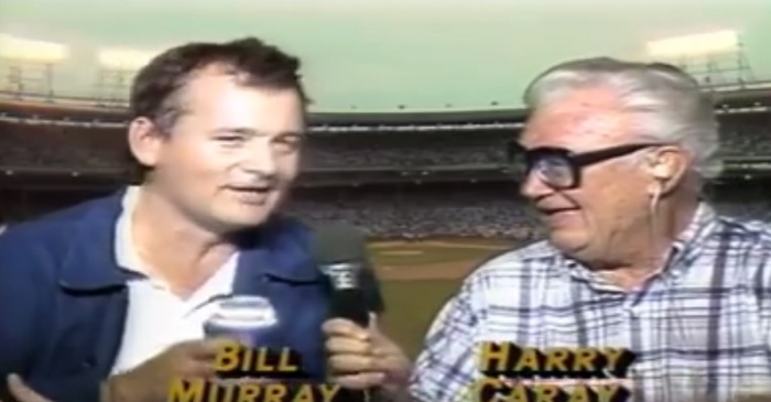 Watch legendary Cubs announcer Harry Caray and Bill Murray inaugurate Wrigley Field night games in 1988
