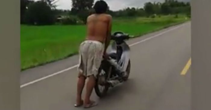 "A flip flops-wearing daredevil named ""Bomb"" shared some sweet tricks on his moped"