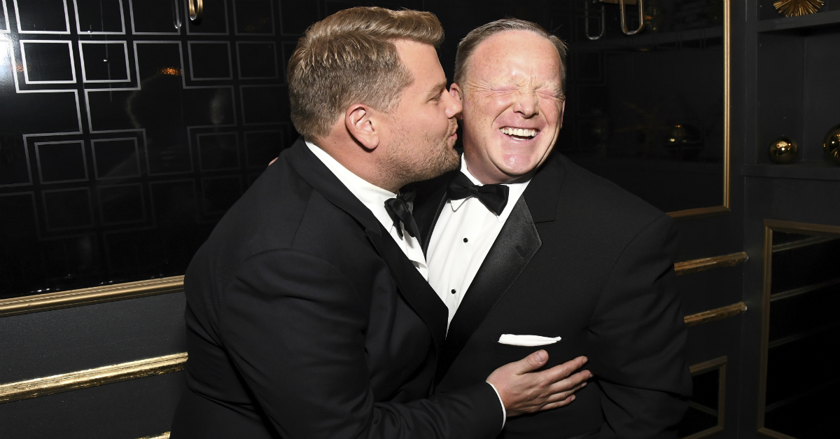 James Corden cozied up to Sean Spicer at the Emmys, and people are not happy about it