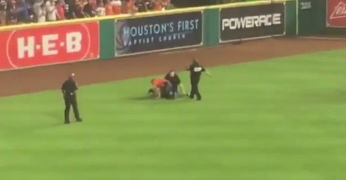 Leading up to playoffs, another Astros fan got loose on the field giving new meaning to the 7th-inning stretch