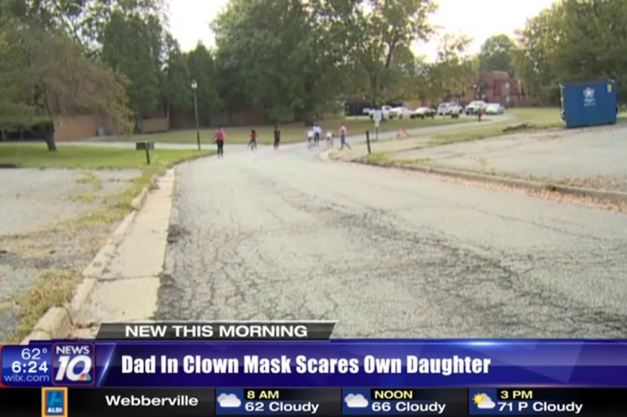 A dad's clown-themed disciplinary tactic ended with him and a neighbor in handcuffs