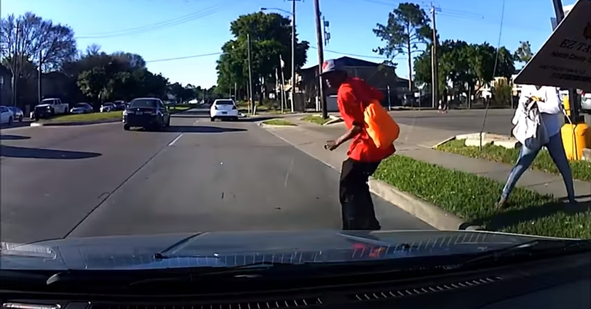 Dashcam catches a Houston woman pushing her prey into oncoming traffic, but why do they both flee?