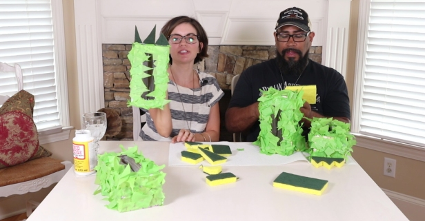 She transforms old tissue boxes into DIY monster feet — perfect for her own little monsters