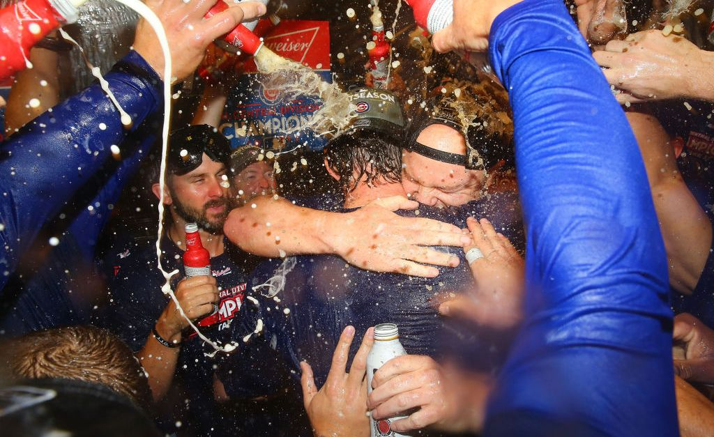 Have a look inside the Cubs clubhouse party after their division win