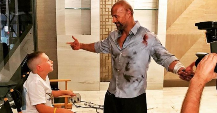 "The Rock meets a 10-year-old ""hero"" who saved his brother from drowning"