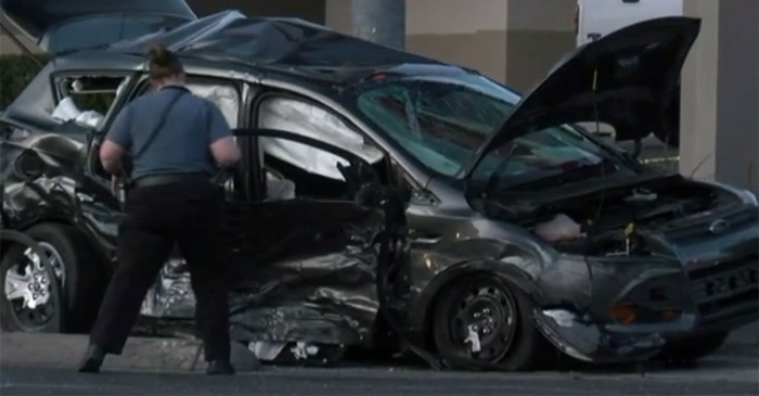 A police cruiser slammed into another car at 80mph and the footage is tough to watch