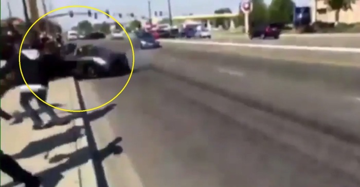 Watch the scary moment a Porsche spun out at a car show and put people in the hospital