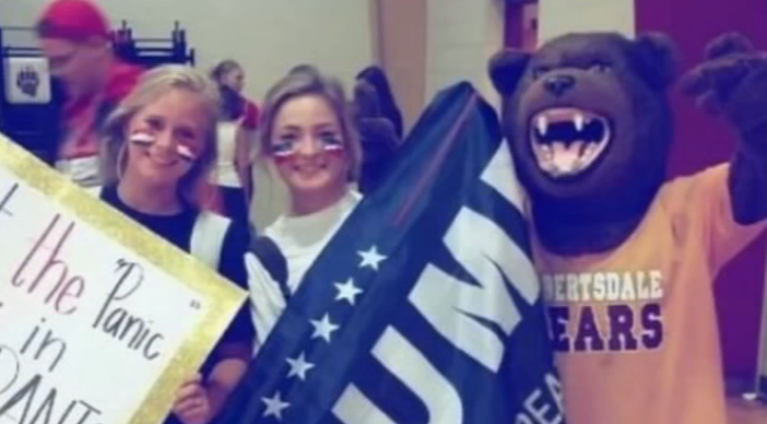 A teen is in hot water after a picture of her pep rally sign went viral for the wrong reasons