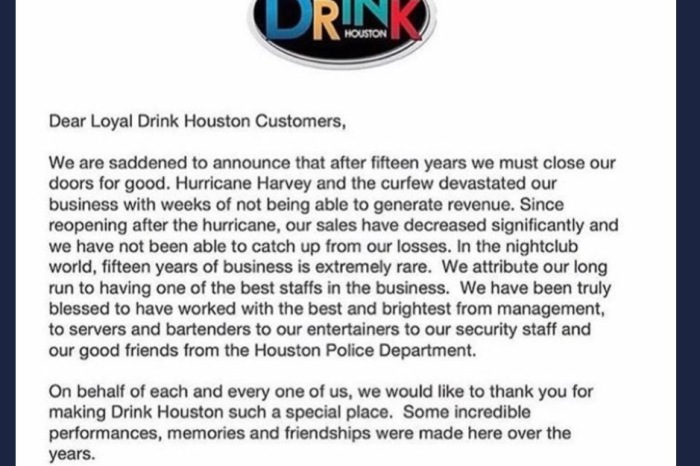 Hurricane Harvey just claimed another night life from Houston, and the city's curfew didn't help