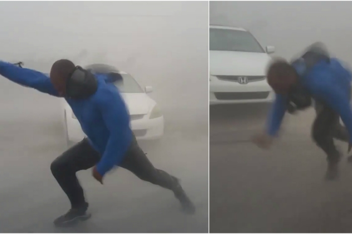 Reporters risking their lives to cover hurricanes is way more amusing than it should be