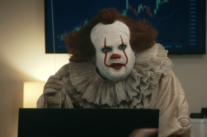 "James Corden disguised himself as a creepy clown in this hilariously terrifying ""It"" spoof"