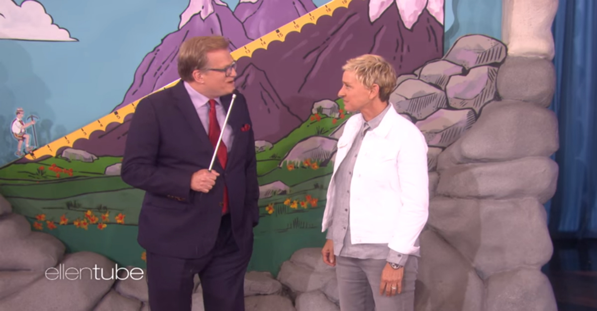 """Worlds collided when Drew Carey brought a classic """"Price Is Right"""" game to """"Ellen"""""""