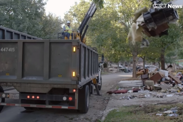 In post-Harvey Houston, a video crew follows garbagemen as they haul memories to the landfill