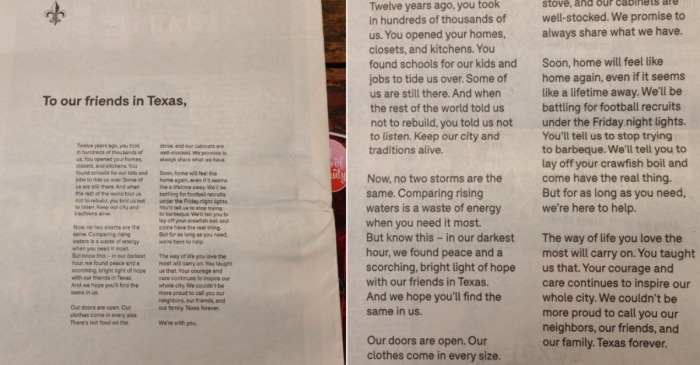 New Orleans pens a requited love letter to Houston to heal the Harvey heartbreak