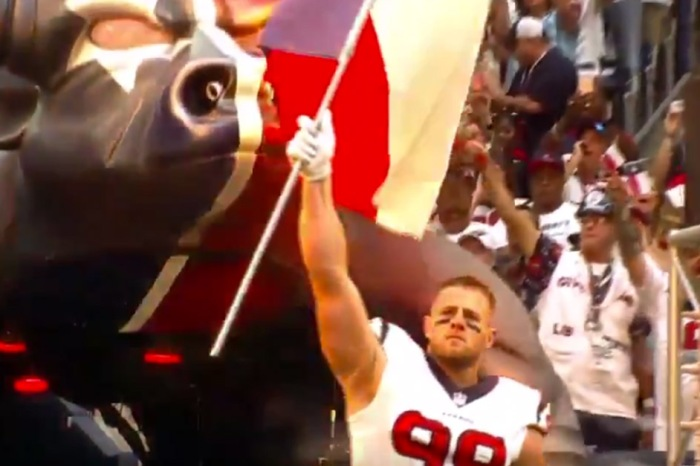 J.J. Watt welcomes fans at NRG Stadium and shows the country what Houston Strong looks like