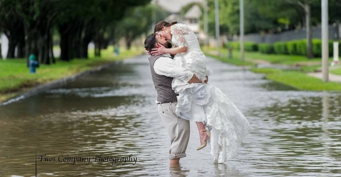 A Houston bride's wedding chapel was destroyed by Harvey, but the pastor helped save the day