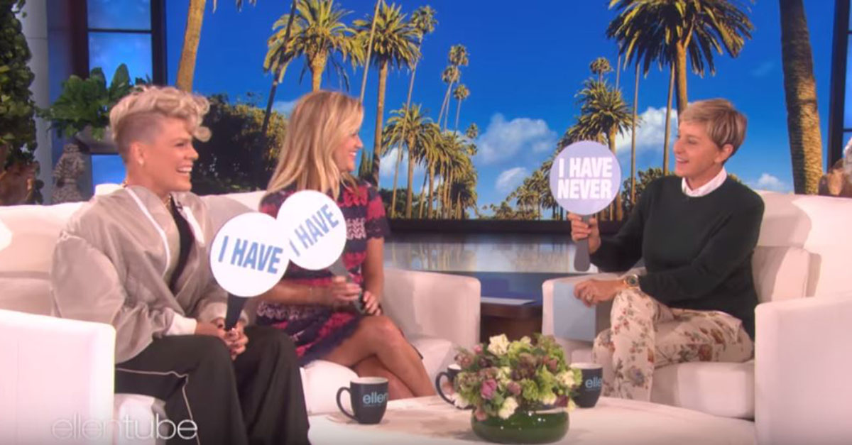 "Pink and Reese Witherspoon tell all in a game of ""Never Have I Ever"" with Ellen DeGeneres"