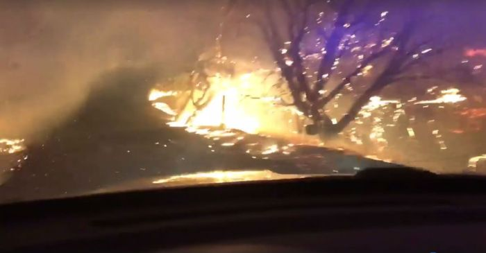This is what a brave first responder saw while driving through a California wildfire