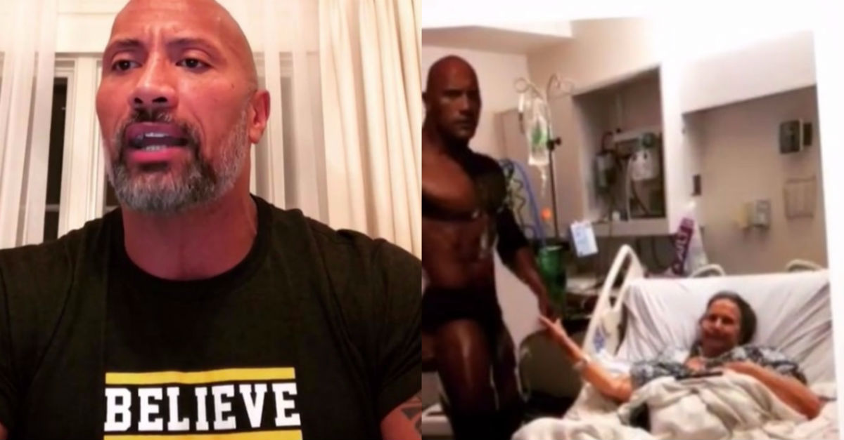 """The Rock"" just made a heartwarming ""get well soon"" video for someone's grandma"
