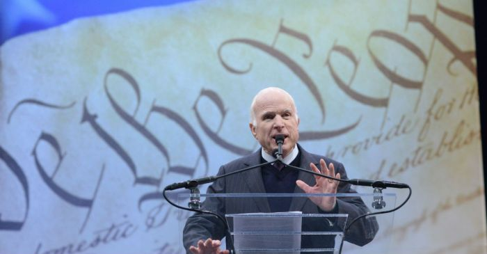John McCain takes a shot at President Trump and his supporters in an award speech