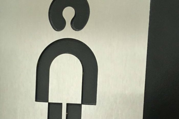 The internet can't tell if this bathroom sign is meant for women or men