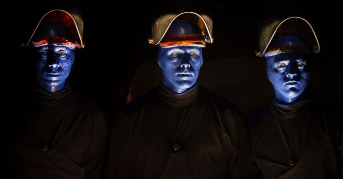 The Blue Man Group is celebrating its 20th anniversary in Chicago