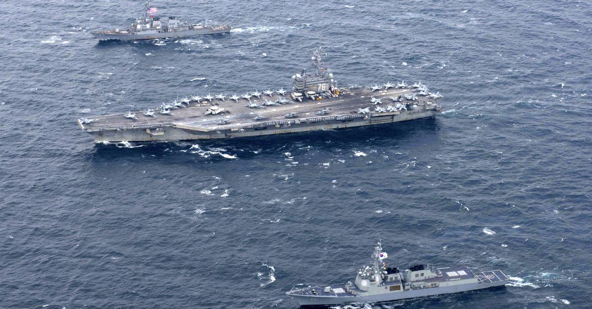 U.S. Navy sends the big guns to the Korean peninsula ahead of Trump's visit