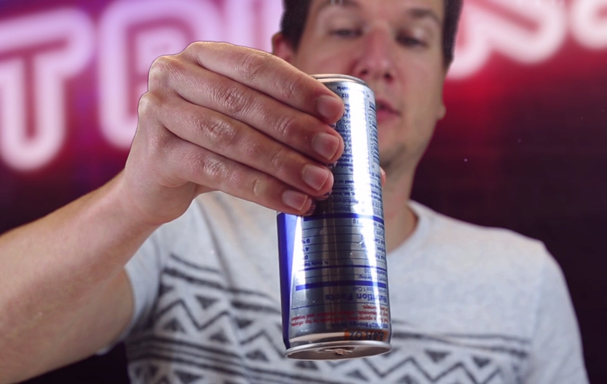 Flip over an open can of liquid without spilling a single drop