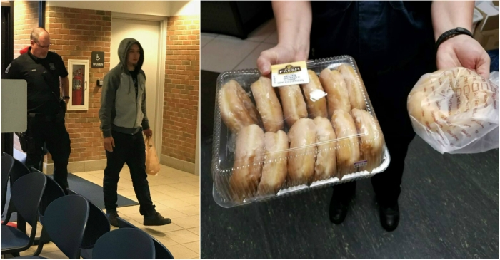 A wanted man turned himself in to police — and he brought a bunch of doughnuts with him